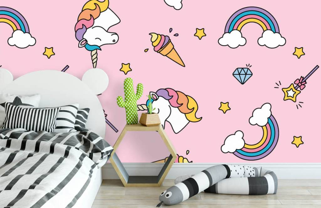 Horses - Colorful unicorn pattern - Children's room 3