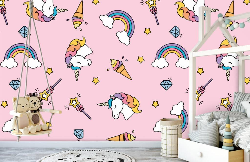 Horses - Colorful unicorn pattern - Children's room 4
