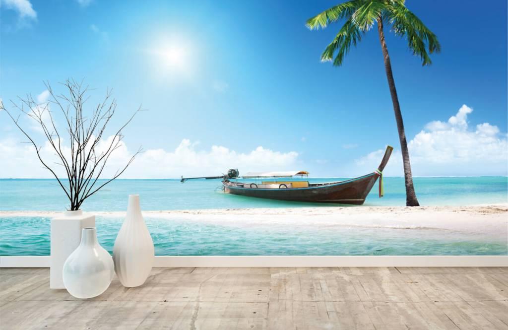 Beach wallpaper - Uninhabited island and a boat - Hobby room 1