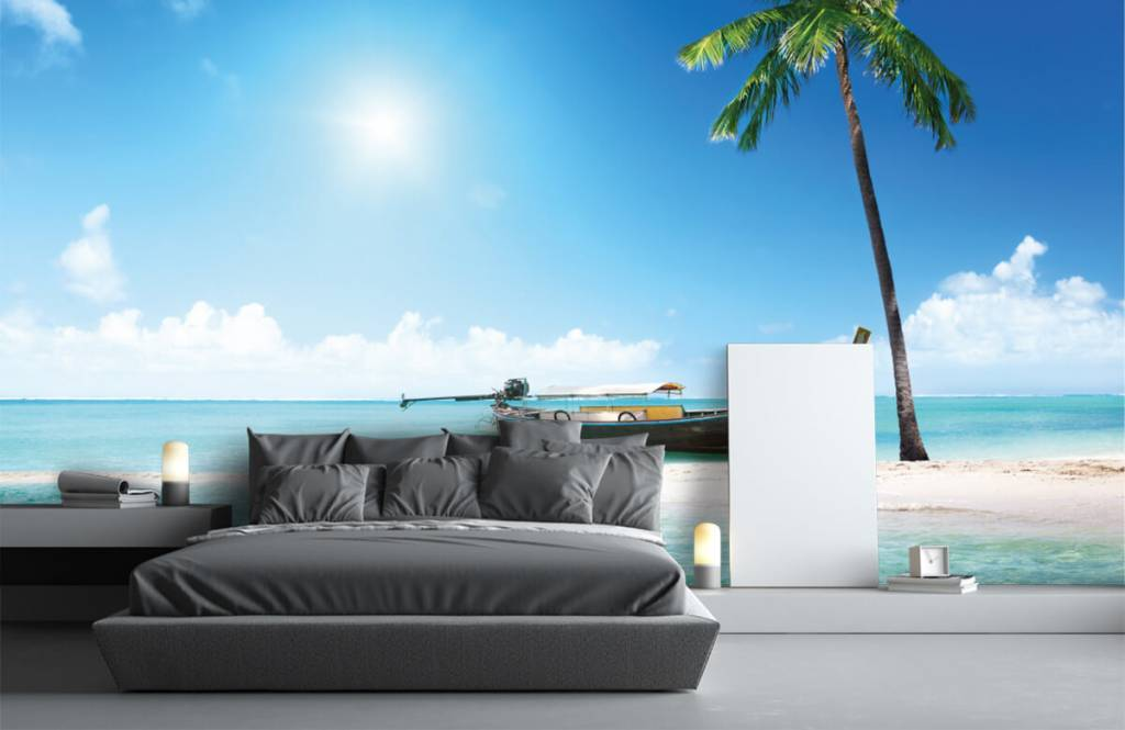 Beach wallpaper - Uninhabited island and a boat - Hobby room 3
