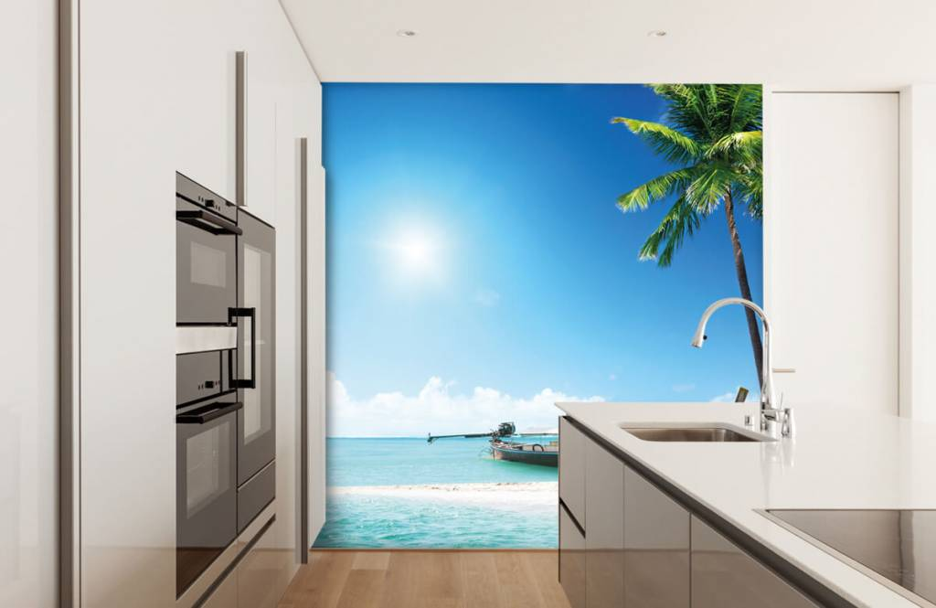 Beach wallpaper - Uninhabited island and a boat - Hobby room 4