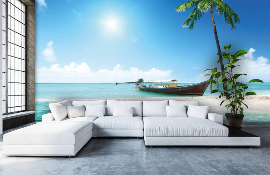 Beach wallpaper - Uninhabited island and a boat - Hobby room 6