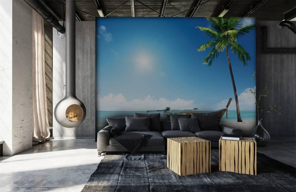 Beach wallpaper - Uninhabited island and a boat - Hobby room 7