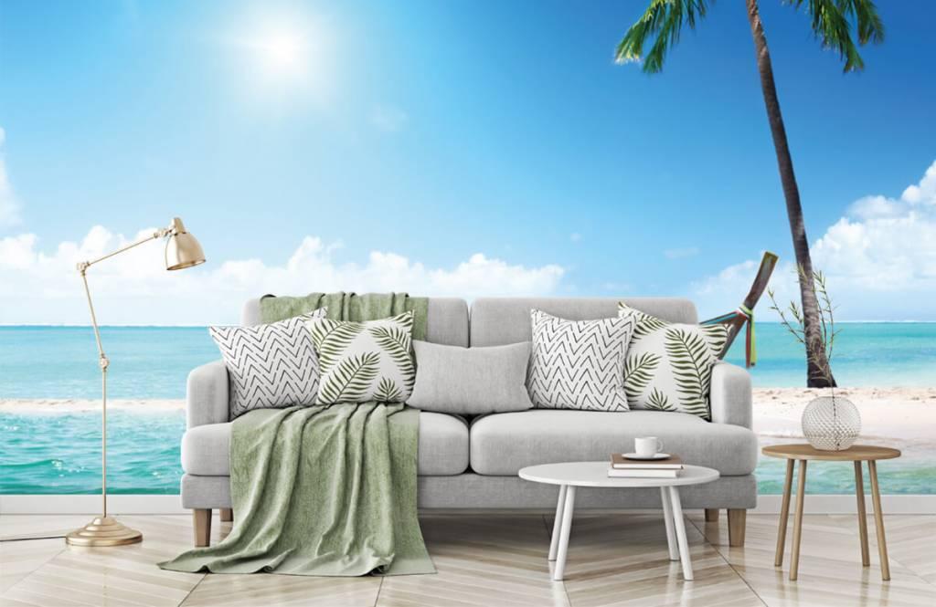 Beach wallpaper - Uninhabited island and a boat - Hobby room 8