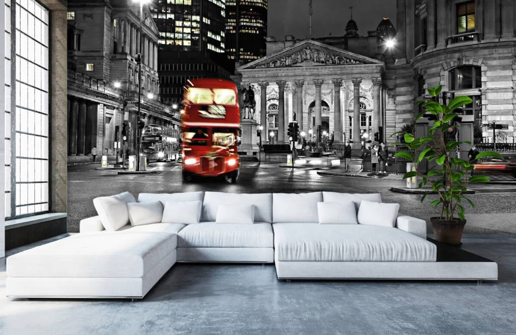 Black and white wallpaper - Red bus in London - Teenage room 6
