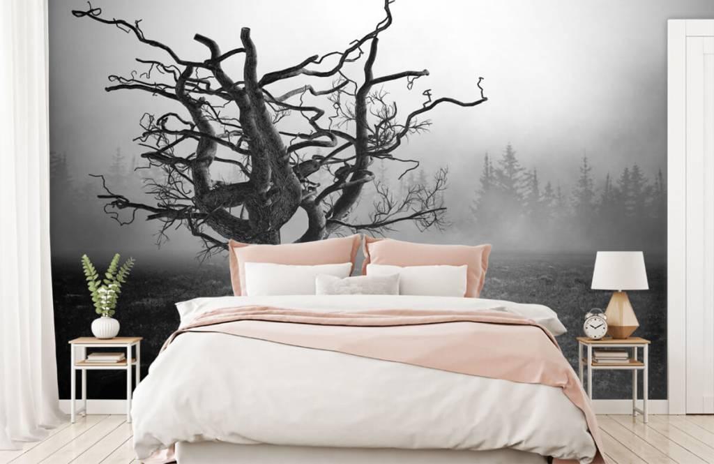 Black and white wallpaper - Elegant tree - Bedroom 2