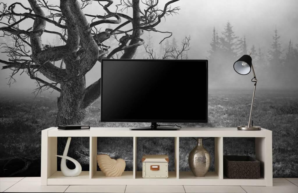 Black and white wallpaper - Elegant tree - Bedroom 5