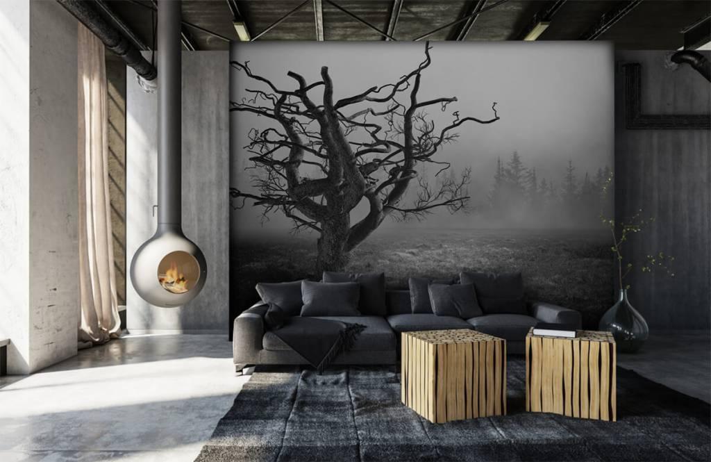 Black and white wallpaper - Elegant tree - Bedroom 6