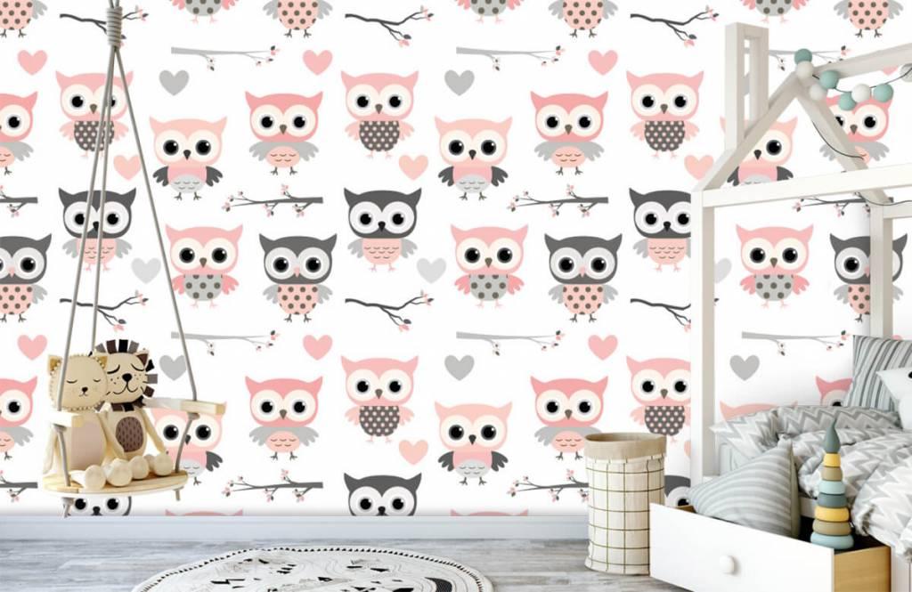 Bird wallpaper - Owl pattern - Children's room 1