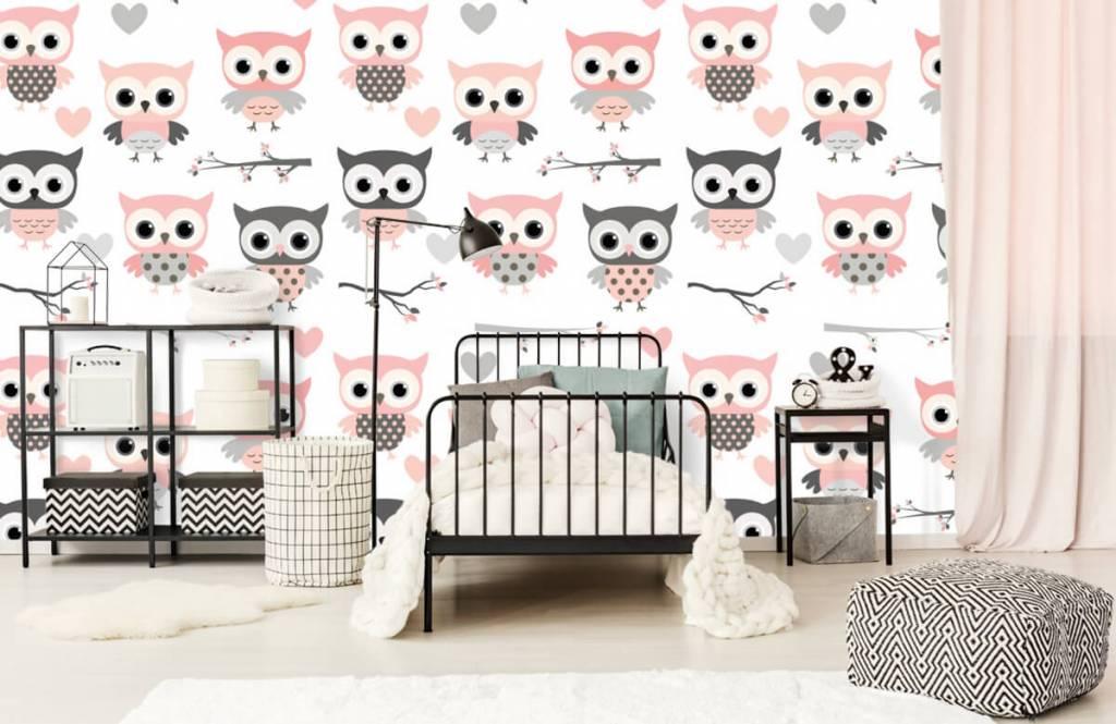 Bird wallpaper - Owl pattern - Children's room 2