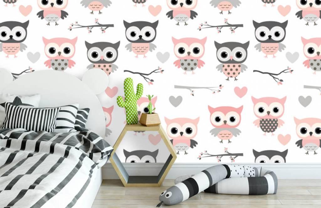 Bird wallpaper - Owl pattern - Children's room 3