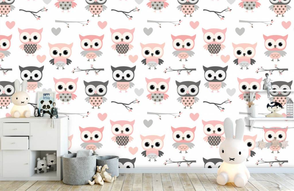 Bird wallpaper - Owl pattern - Children's room 4
