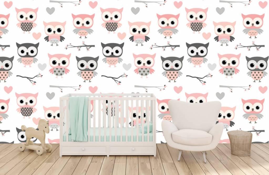 Bird wallpaper - Owl pattern - Children's room 5