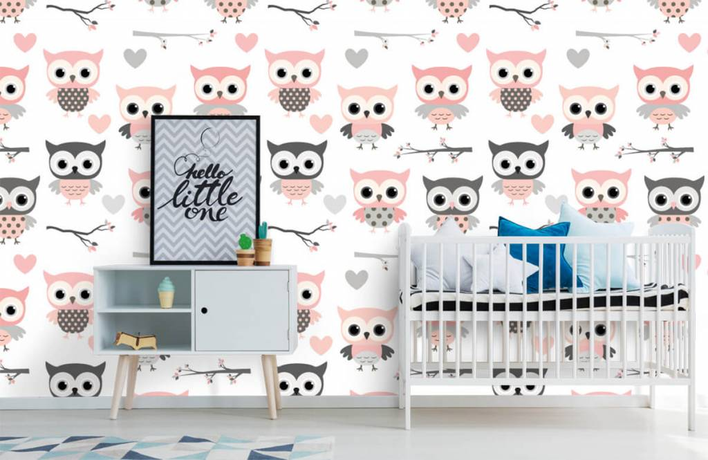Bird wallpaper - Owl pattern - Children's room 6
