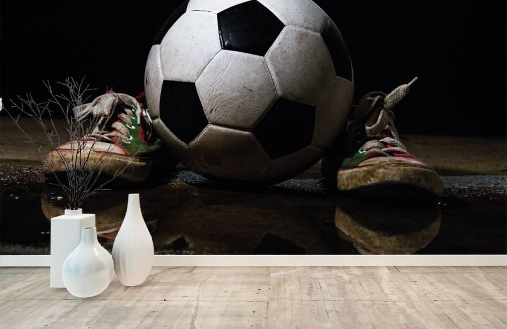 Soccer wallpaper - Football between two sneakers - Children's room 1