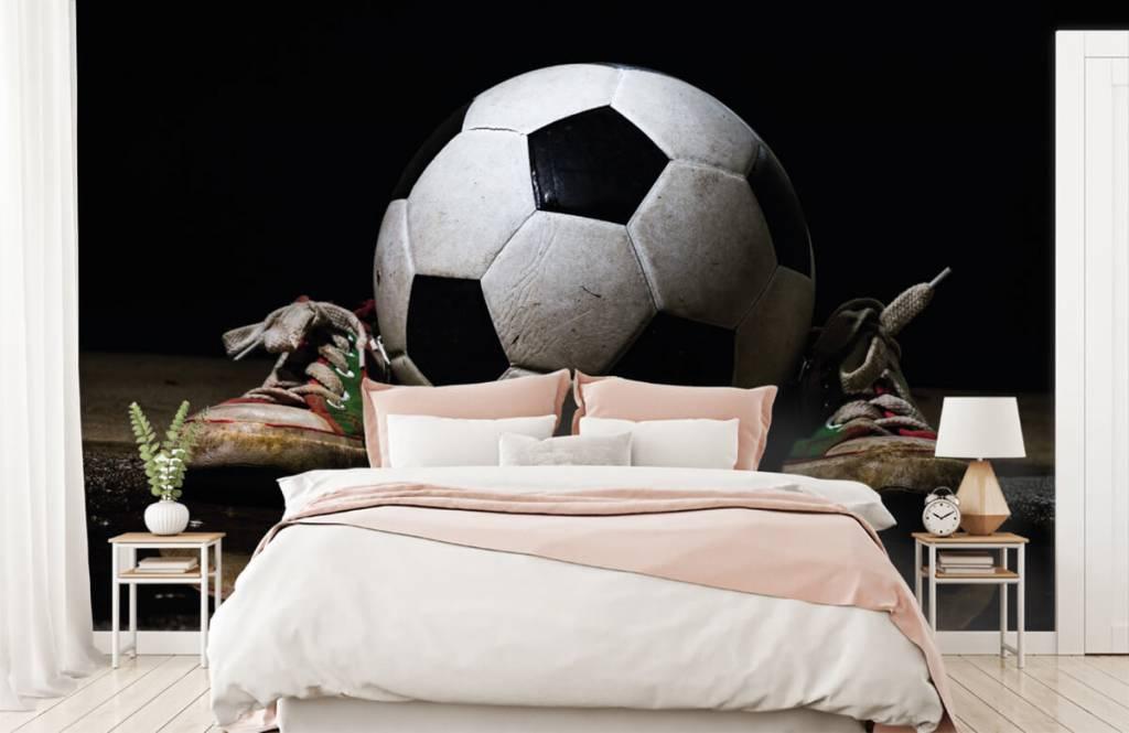 Soccer wallpaper - Football between two sneakers - Children's room 2