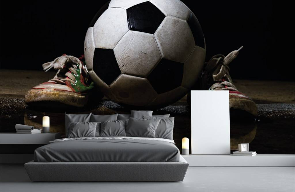 Soccer wallpaper - Football between two sneakers - Children's room 3