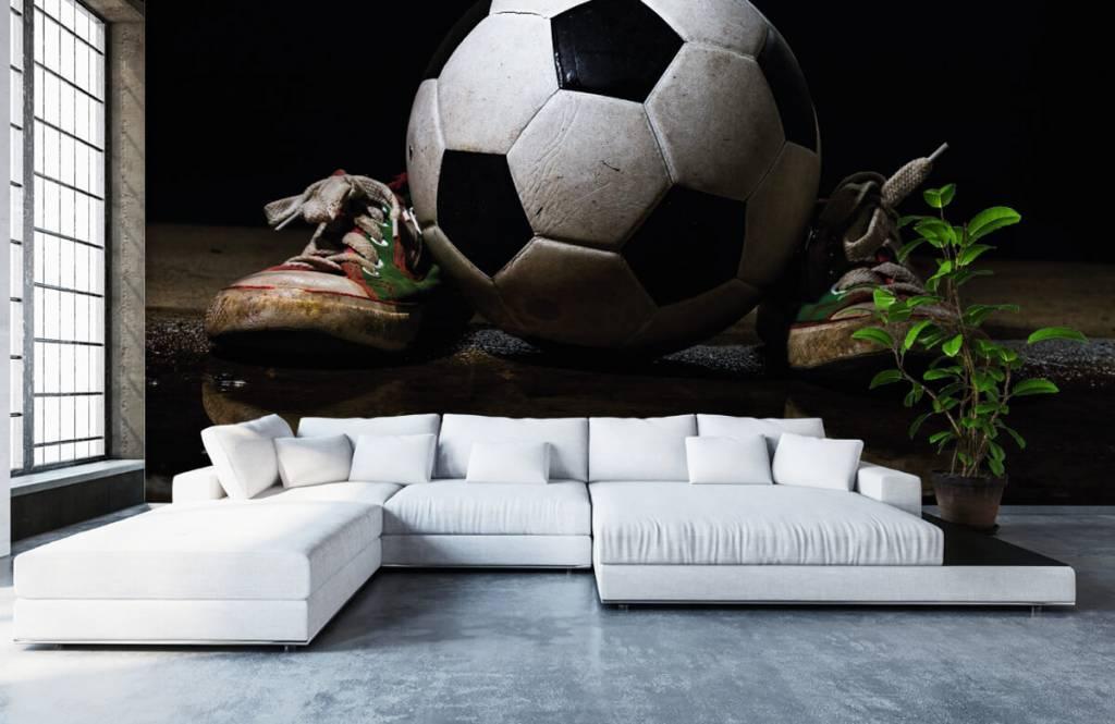 Soccer wallpaper - Football between two sneakers - Children's room 4