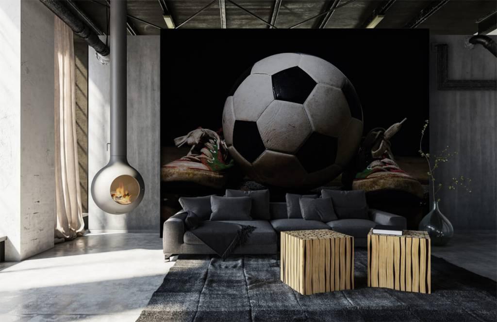 Soccer wallpaper - Football between two sneakers - Children's room 5