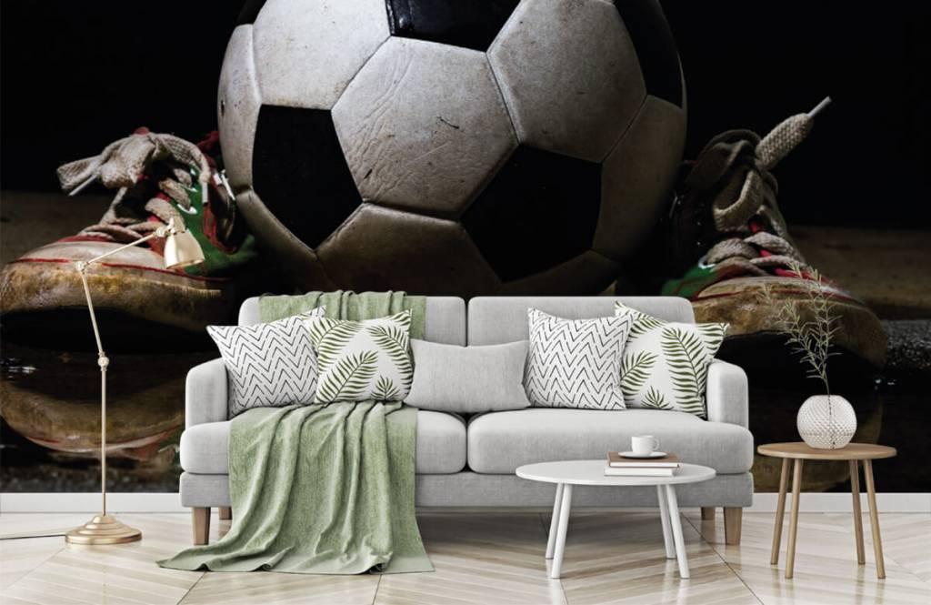 Soccer wallpaper - Football between two sneakers - Children's room 6