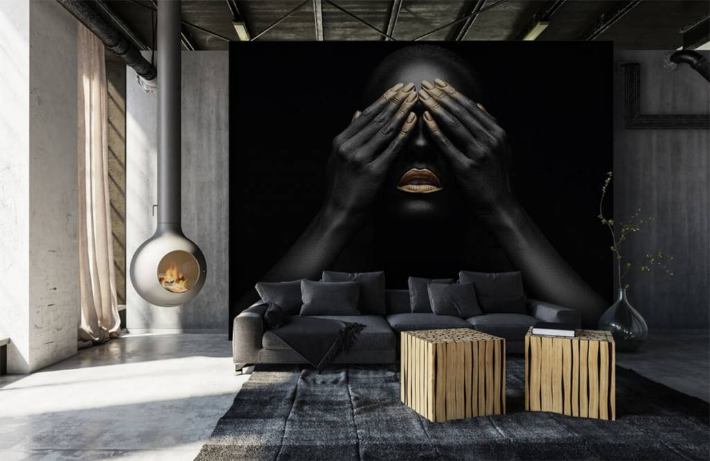 Modern - Woman with hands in front of her eyes - Living room 1