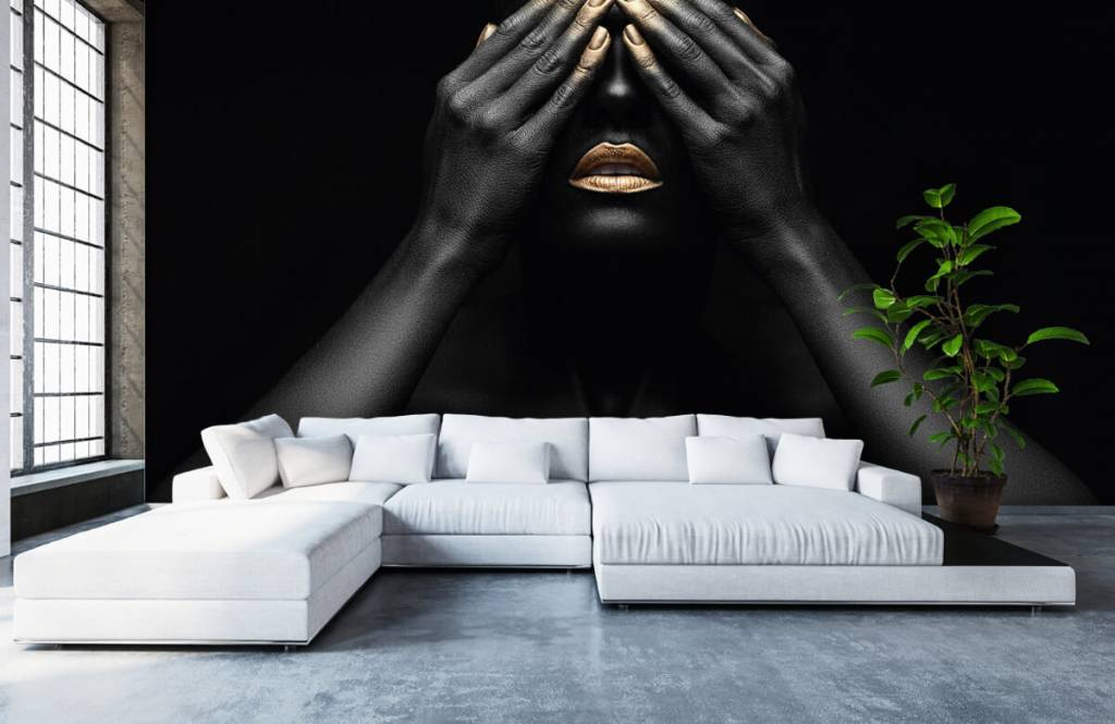 Modern - Woman with hands in front of her eyes - Living room 6