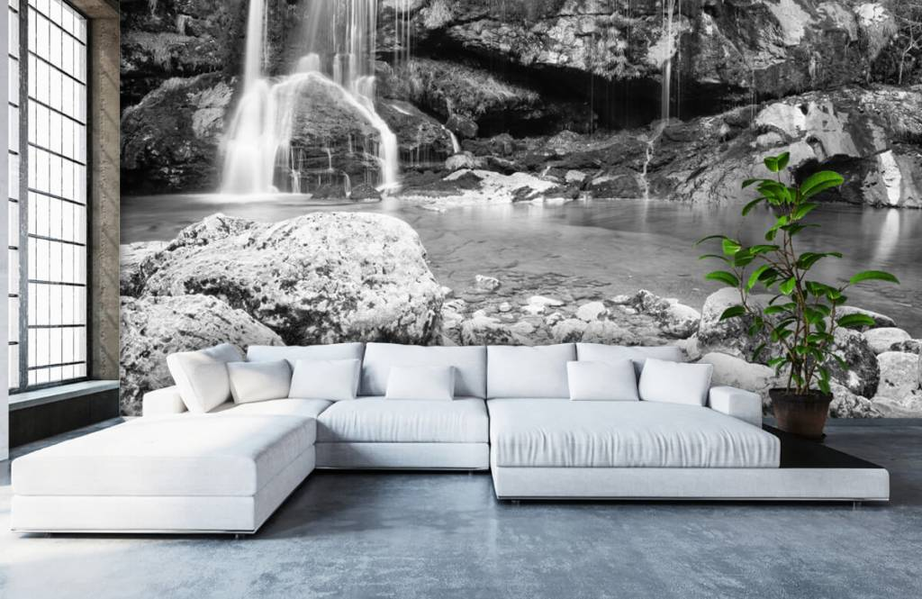 Black and white wallpaper - Waterfall over a stone wall - Bedroom 6