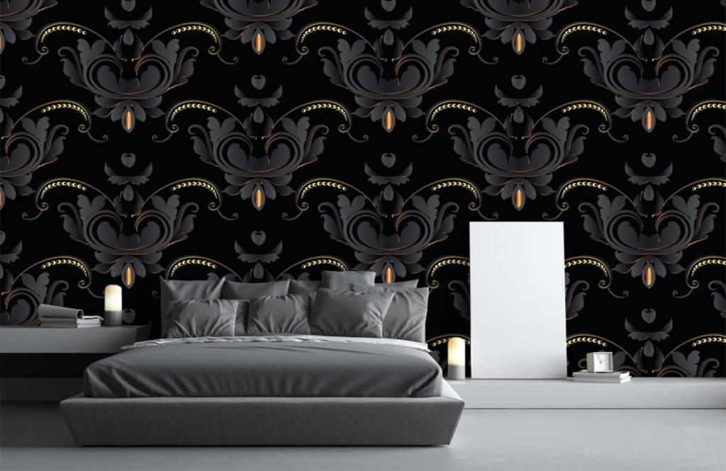 Baroque wallpaper - Black gold baroque pattern - Bedroom 1