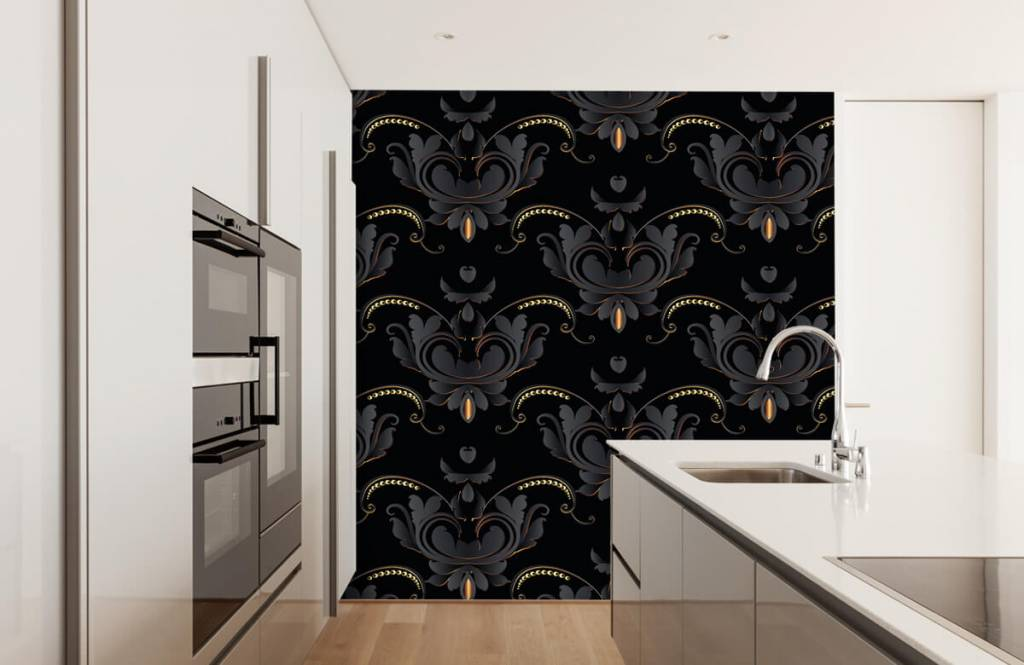 Baroque wallpaper - Black gold baroque pattern - Bedroom 4