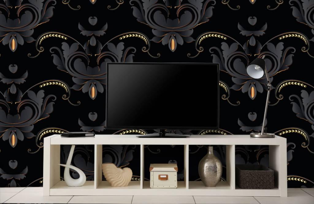 Baroque wallpaper - Black gold baroque pattern - Bedroom 5