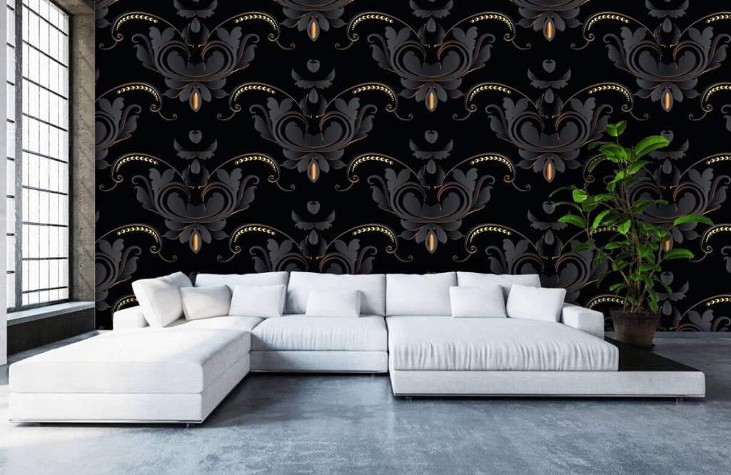Baroque wallpaper - Black gold baroque pattern - Bedroom 6