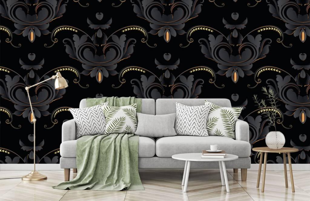Baroque wallpaper - Black gold baroque pattern - Bedroom 7