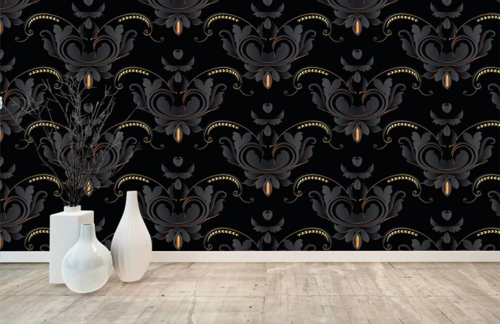 Baroque wallpaper - Black gold baroque pattern - Bedroom 8