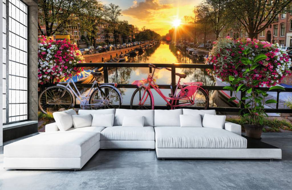 Cities wallpaper - Cycling on a bridge with flowers - Bedroom 1