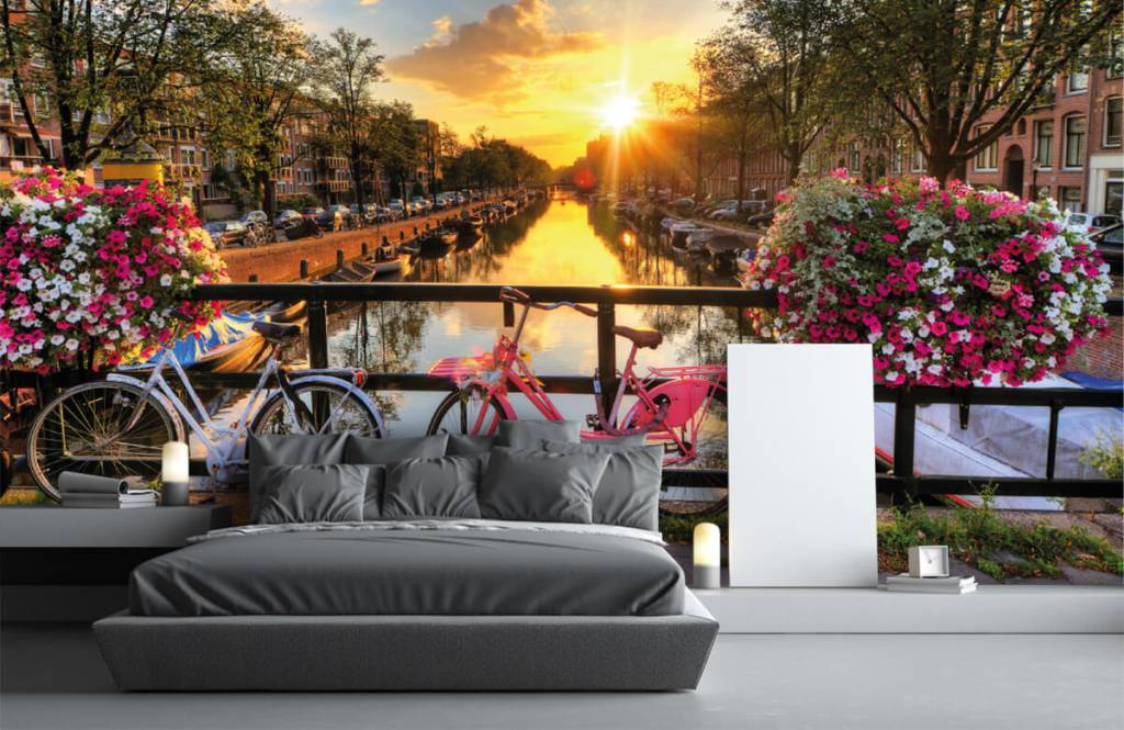 Cities wallpaper - Cycling on a bridge with flowers - Bedroom 3
