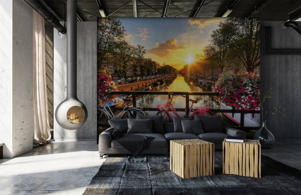 Cities wallpaper - Cycling on a bridge with flowers - Bedroom 6