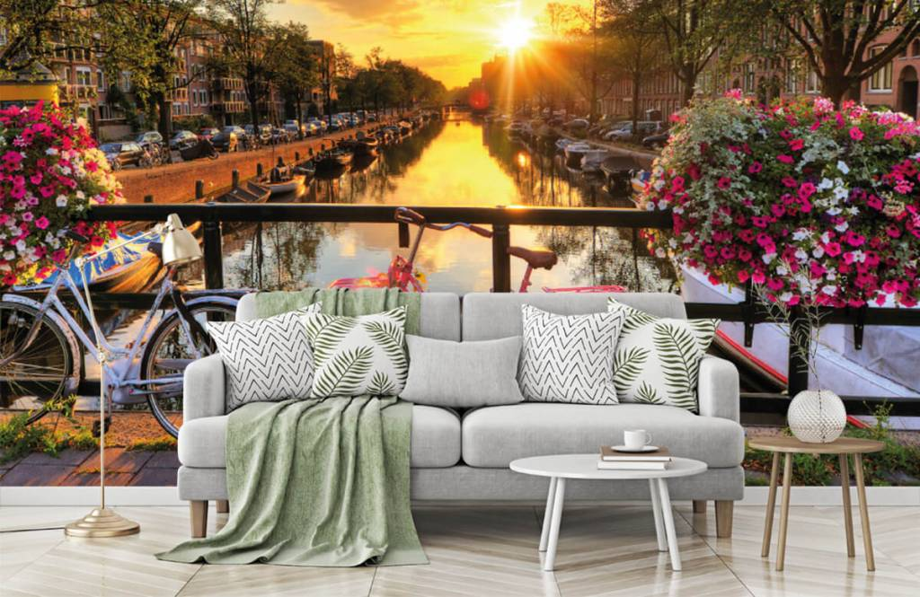 Cities wallpaper - Cycling on a bridge with flowers - Bedroom 7