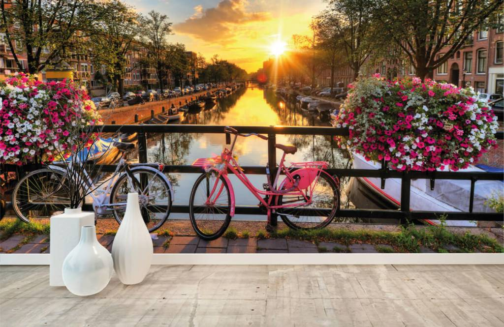 Cities wallpaper - Cycling on a bridge with flowers - Bedroom 8