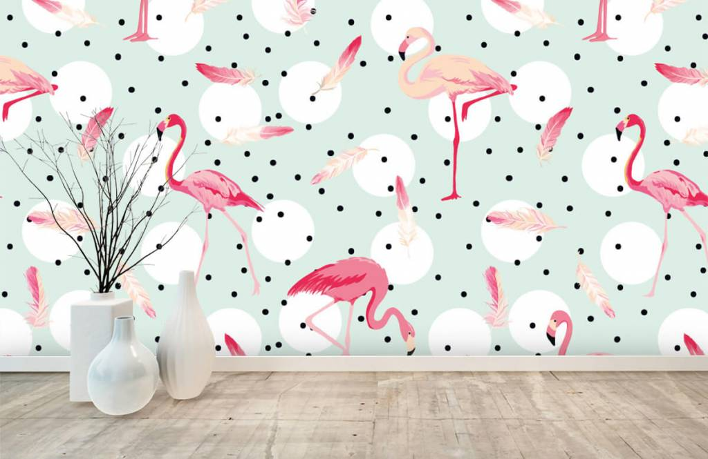 Children's wallpaper - Flamingos and feathers - Children's room 1