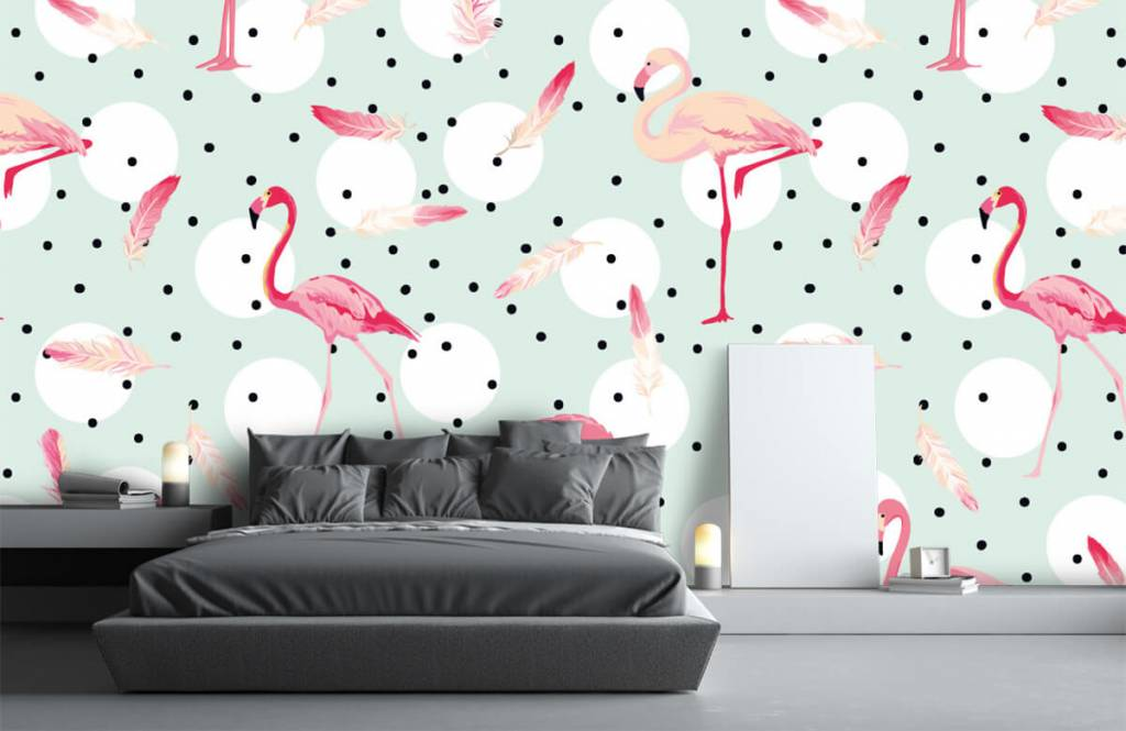 Children's wallpaper - Flamingos and feathers - Children's room 3