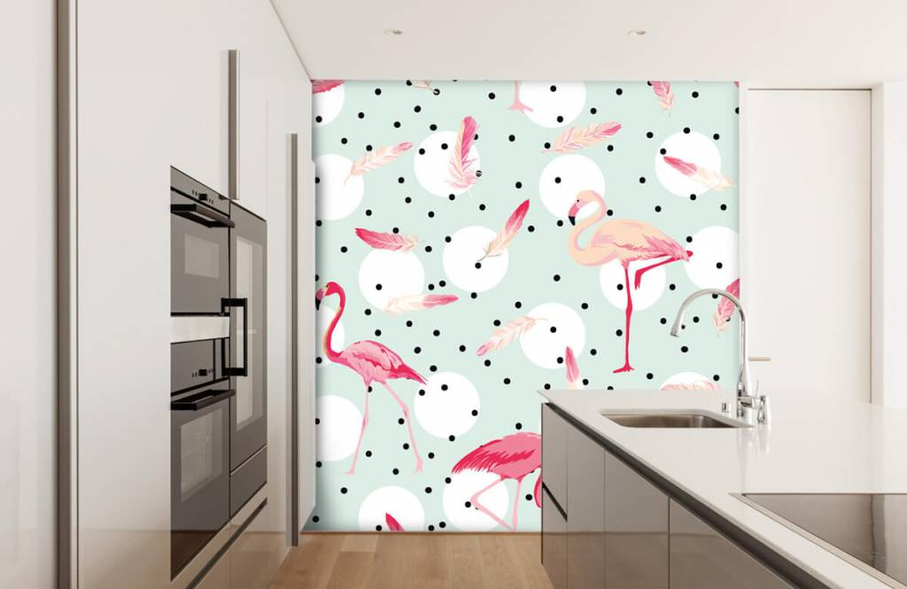 Children's wallpaper - Flamingos and feathers - Children's room 4