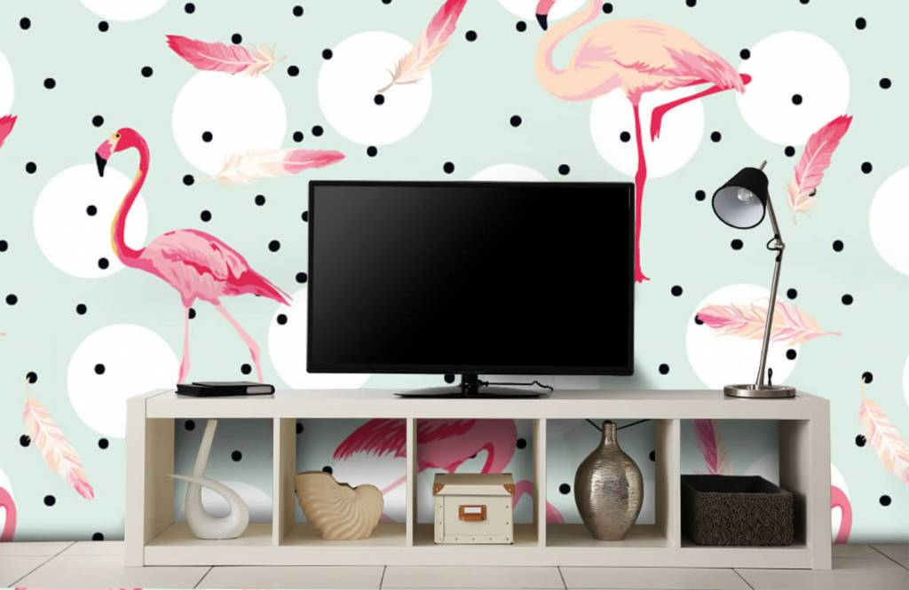 Children's wallpaper - Flamingos and feathers - Children's room 5