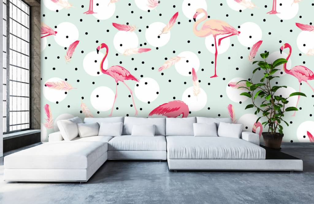 Children's wallpaper - Flamingos and feathers - Children's room 6