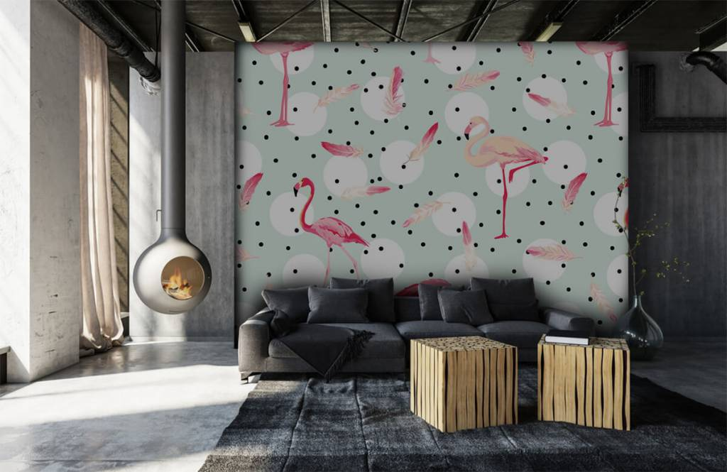 Children's wallpaper - Flamingos and feathers - Children's room 7