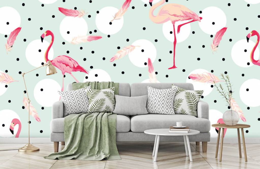 Children's wallpaper - Flamingos and feathers - Children's room 8