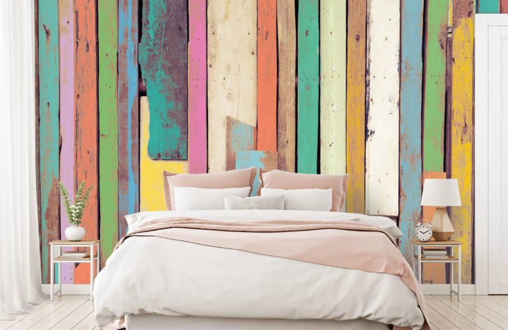 Wooden wallpaper - Colored demolition wood - Bedroom 1