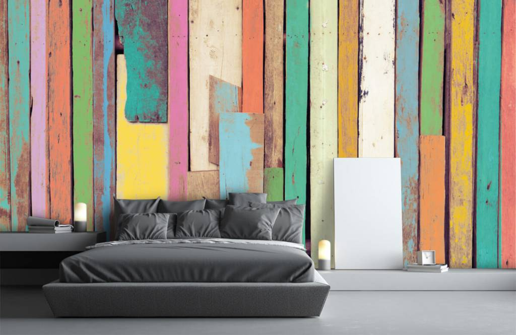 Wooden wallpaper - Colored demolition wood - Bedroom 2