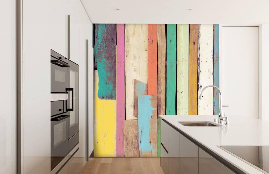 Wooden wallpaper - Colored demolition wood - Bedroom 3