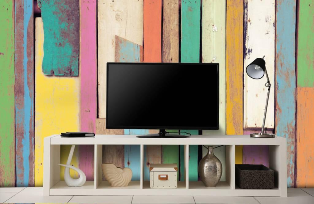 Wooden wallpaper - Colored demolition wood - Bedroom 4