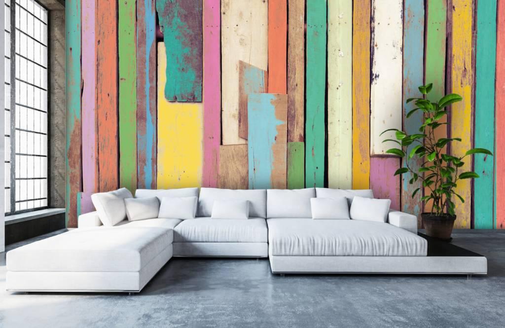 Wooden wallpaper - Colored demolition wood - Bedroom 5